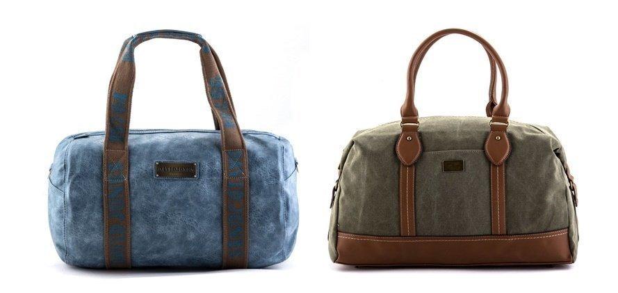 Дорожная сумка голубого и хаки цвета - фотография