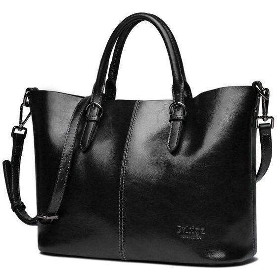 Деловая сумка формы шоппер черного цвета - фотография