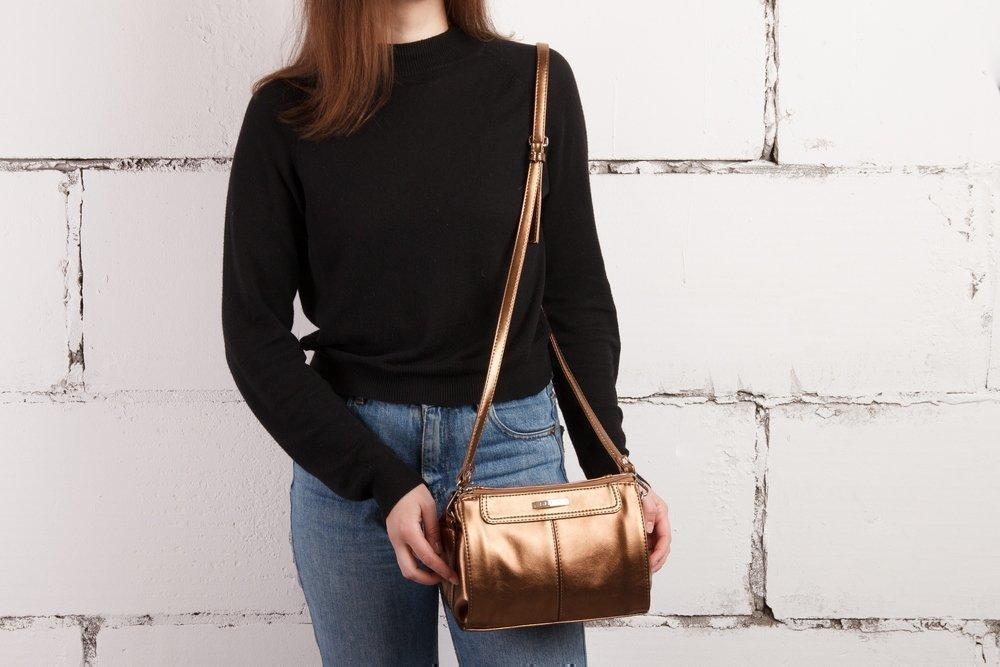 Новинка - Золотая сумка через плечо от S.Lavia