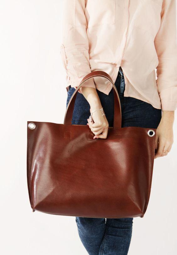 Cумки-шоппер коричневая - фотография